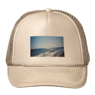 Wave Coming Up On Beach OBX Mesh Hat