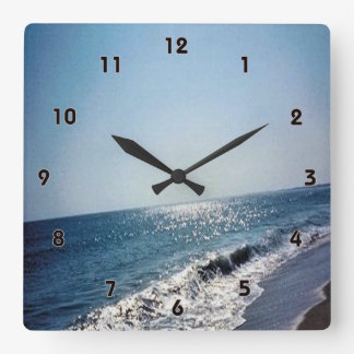 Wave Coming Up On Beach (OBX) Square Wall Clock