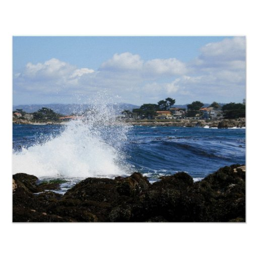 Wave Crashes in Monterey Bay, CA. Print