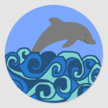 Wave curl dolphin stickers