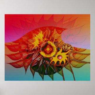 Wave flower poster