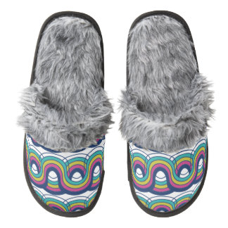 wave pair of fuzzy slippers