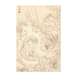 Wave Katsushika Hokusai  vintage waterscape art Canvas Print