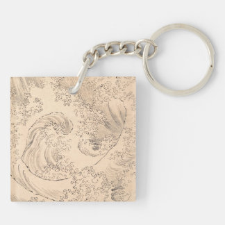 Wave Katsushika Hokusai  vintage waterscape art Keychain