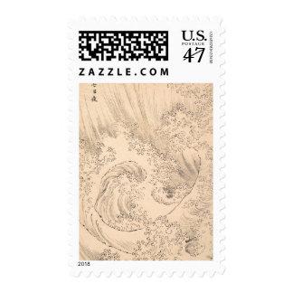 Wave Katsushika Hokusai  vintage waterscape art Postage