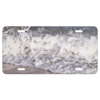 Wave Lapping at Beach License Plate