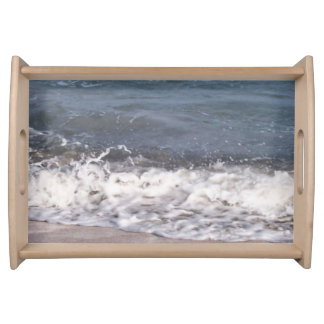 Wave Lapping at Beach Serving Tray