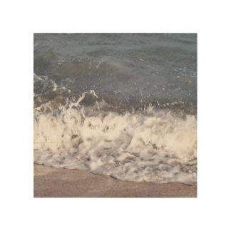 Wave Lapping at Beach Wood Print