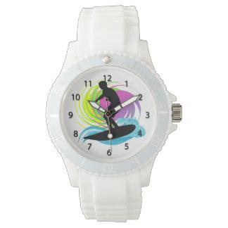 Wave, Male Surfer, Colorful Swirls  Women's Watche Wrist Watches
