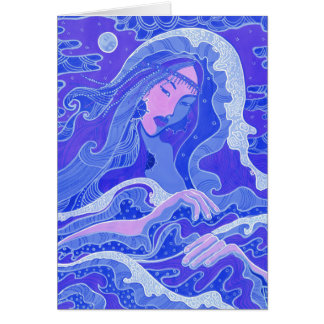Wave, Mermaid, Fantasy Art Asian Girl, Blue & Pink Card