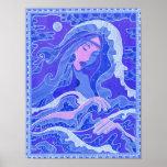 Wave, Mermaid, Fantasy Art Asian Girl, Blue & Pink Poster