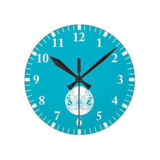 Wave moon rabbit round clock