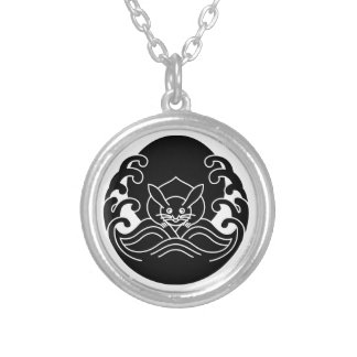 Wave moon rabbit silver plated necklace