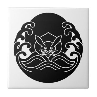 Wave moon rabbit ceramic tile