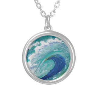 Wave Round Pendant Necklace