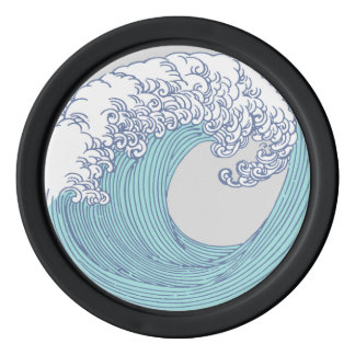 Wave Ocean Surf Art Print Asian Japanese Poker Chips Set