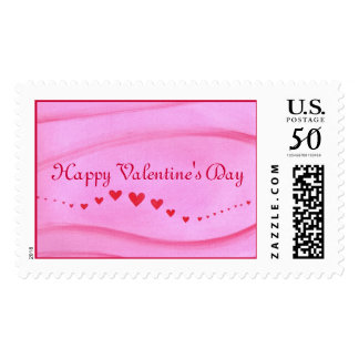 Wave of red hearts, Happy Valentines Day, stamps