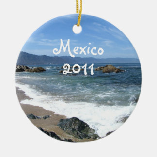 Wave of Serenity; Mexico Souvenir Ceramic Ornament