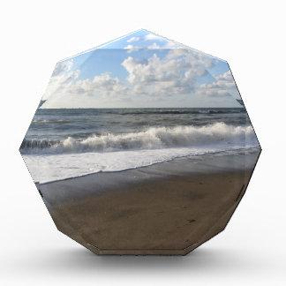 Wave of the sea on the sand beach acrylic award