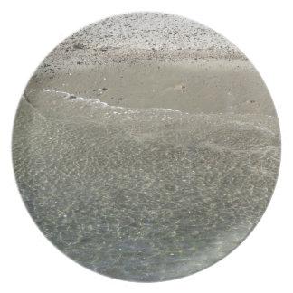 Wave of the sea on the sand beach melamine plate