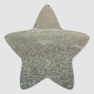 Wave of the sea on the sand beach star sticker