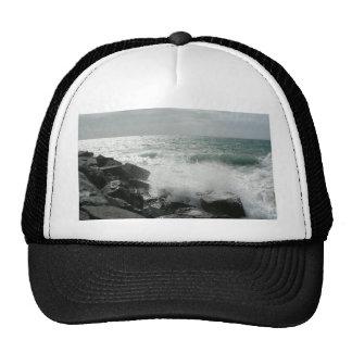 Wave On Cost Breaking Of Big Rocks Mesh Hat