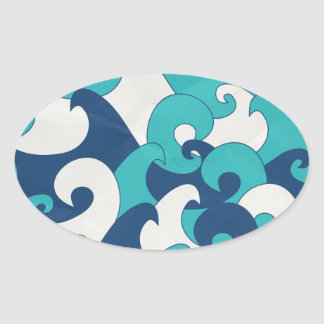Wave Oval Sticker