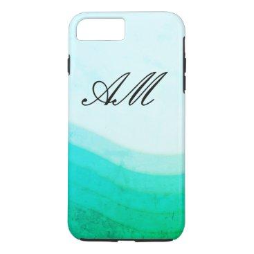 Beach Themed Wave Pattern / Monogram iPhone 8 Plus/7 Plus Case