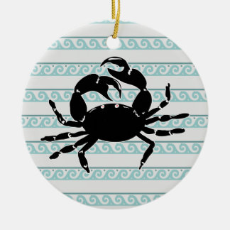 Wave Pattern Silhouette of Crab Ceramic Ornament