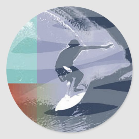 wave rider classic round sticker