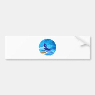 Wave rider surfer car bumper sticker
