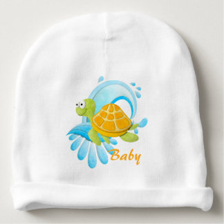 Wave Riding Sea Turtle Personalized Baby Beanie