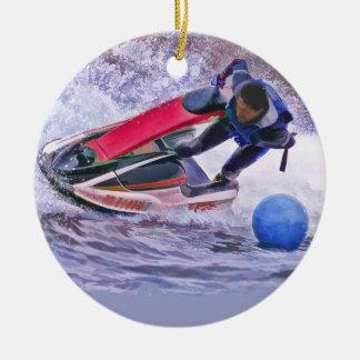 Wave Runner Around the Buoy Ceramic Ornament