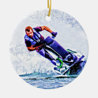 Wave Runner Spray Double-Sided Ceramic Round Christmas Ornament