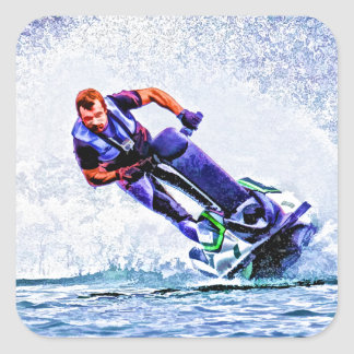 Wave Runner Spray Square Stickers