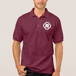 Wave-shaped Kanji characters for three in Oshiki Polo Shirt