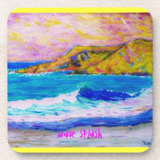 wave splash art beverage coaster
