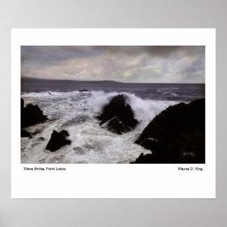 Wave Strike Point Lobos Poster