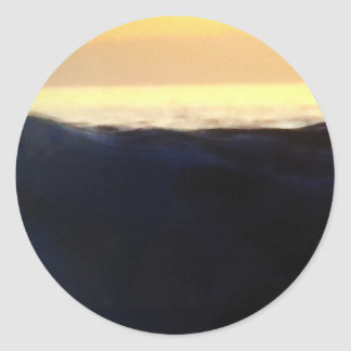 Wave & Sunset Horizon Classic Round Sticker