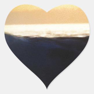 Wave & Sunset Horizon Heart Sticker