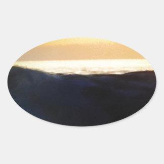 Wave & Sunset Horizon Oval Sticker