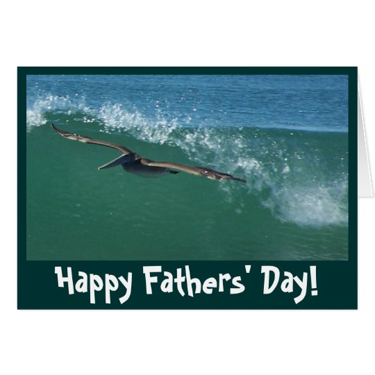 Wave Surfing Pelican Fathers' Day Card