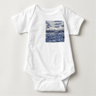 Wave swells in a cloudy day baby bodysuit