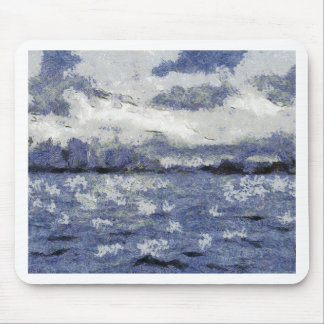 Wave swells in a cloudy day mouse pad