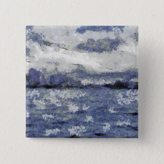 Wave swells in a cloudy day pinback button