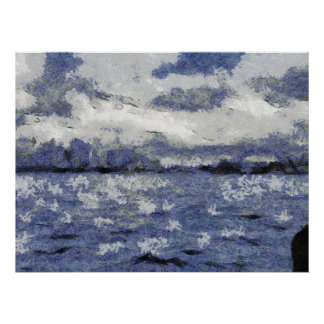Wave swells in a cloudy day poster