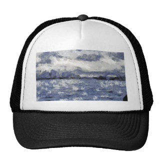 Wave swells in a cloudy day trucker hat