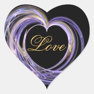 Wave Swept Love Filled Fractal Art Heart Heart Sticker