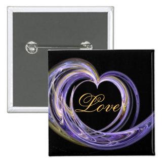 Wave Swept Love Filled Fractal Art Heart Pins