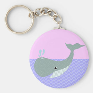 wave the whale basic round button keychain